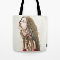 wind Tote Bags featuring The Wind by Carlos ARL