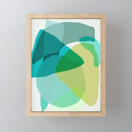 Shapes and Layers no.17 - Abstract Painting in Greens and Blues Framed Mini Art Print