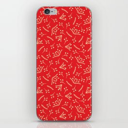 Christmas Branches and Berries in red and yellow iPhone Skin