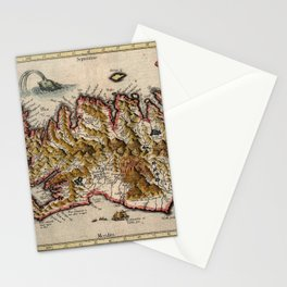 Map Of Iceland 1595 Stationery Cards