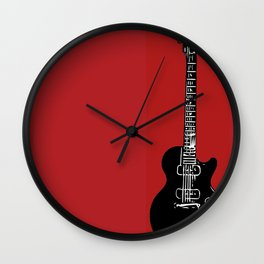 Electric Guitar (Black on Red) Wall Clock