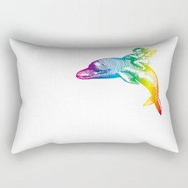 the Angel riding a dolphin Rectangular Pillow