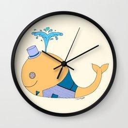 Steampunk Whale (Orange) Wall Clock