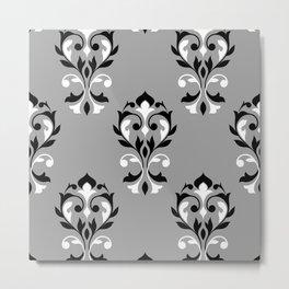 Heart Damask Ptn Black Grey White Metal Print
