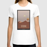 travel poster T-shirts featuring Tatooine Travel Poster by Tawd86