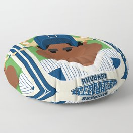 Baseball Blue Pinstripes - Rhubarb Pitchbatter - Hayes version Floor Pillow