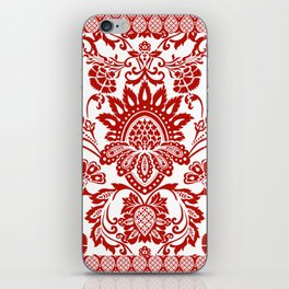 Damask in red iPhone Skin