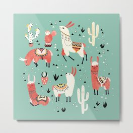 Llamas and cactus in a pot on green Metal Print