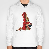 england Hoodies featuring ENGLAND by mark ashkenazi