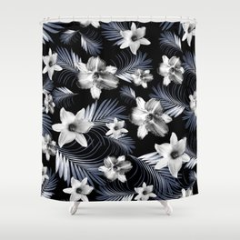 Tropical Flowers Palm Leaves Finesse #4 #tropical #decor #art #society6 Shower Curtain