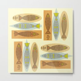 Fish In A Midcentury Modern Style Metal Print