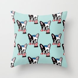 French Bulldog in Robins Egg Blue Throw Pillow