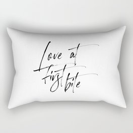 Love At First Bite, Dessert Sign, Lovely Words, Sweets Table Sign Rectangular Pillow