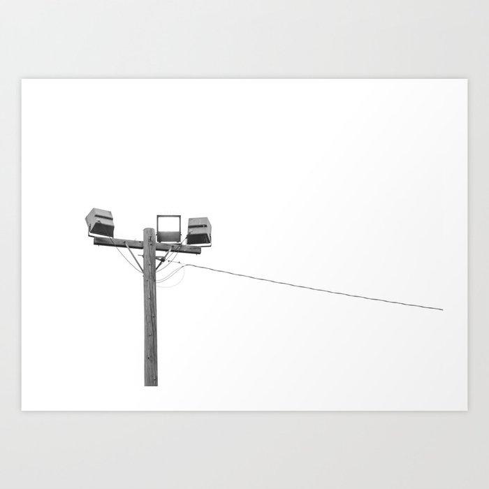 Travel photography street lamp at night black & white Art Print