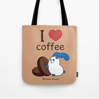coffe Tote Bags featuring Ernest | Love coffe by Hisame Artwork