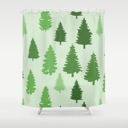 Forest Art In Green Beautiful Trees Nature Pattern Shower Curtain