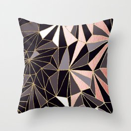 Stylish Art Deco Geometric Pattern - Black, Coral, Gold #abstract #pattern Throw Pillow