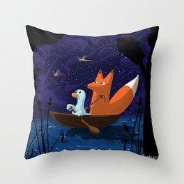 Fox & Duck Looking For Dragonflies Throw Pillow
