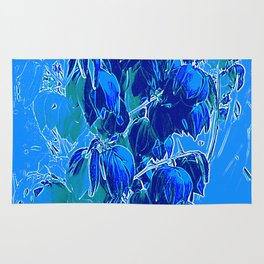 Yucca Flowers in Blues Rug