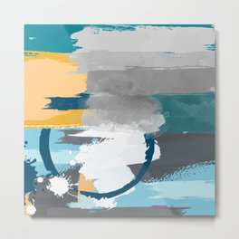 Abstract Grey & Blue Metal Print