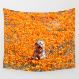 Yorkie in Poppies Wall Tapestry