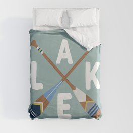 LAKE LIFE Painted Paddle Oars Duvet Cover