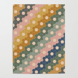 Hexagon Flowers Poster