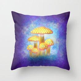 Yellow Bioluminescence Throw Pillow