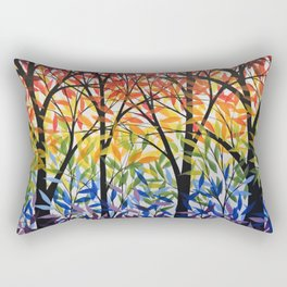 Abstract Art Original Landscape Painting ... Spectrum of Trees Rectangular Pillow