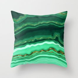 Gold And Malachite Marble Throw Pillow