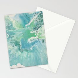 Breathe Blue Abstract Print Stationery Cards