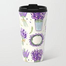 Modern ivory lavender purple vector floral pattern Metal Travel Mug