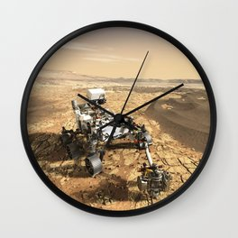 This is a Mars Rover Portrait, 2020 Mars Exploration, NASA, Outer Space Wall Clock
