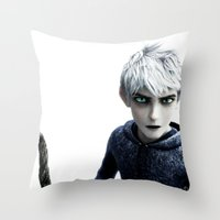 jack frost Throw Pillows featuring Jack Frost  by LaurenMichelle