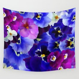 Abstract blue purple pink white pansies floral Wall Tapestry