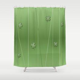 Green Clover Modern Print Shower Curtain