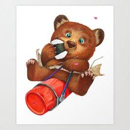 A little bear having a picnic lunch Art Print