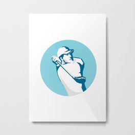 Golfer Tee Off Golf Stencil Metal Print