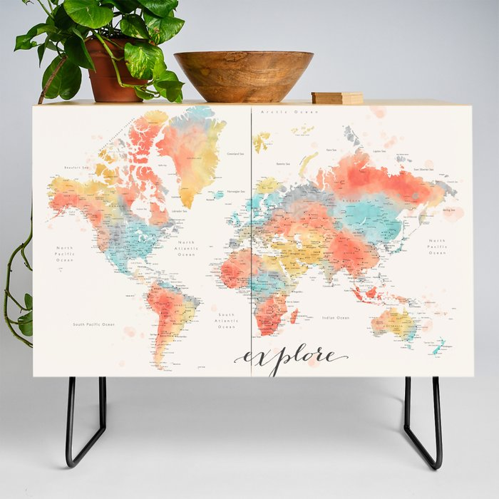 Explore__Colorful_watercolor_world_map_with_cities_Credenza_by_blursbyaiShop__Black__Birch