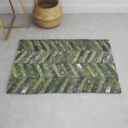 Mossy Weathered Wood in Chevron Rug