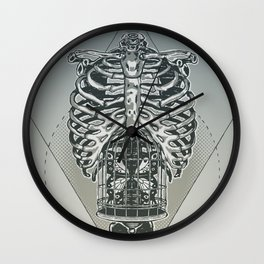 Mariposa en el estomago Wall Clock