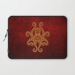 Intricate Red and Yellow Octopus Laptop Sleeve