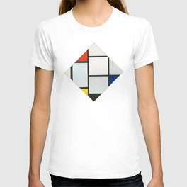 Tableau No. IV: Lozenge Composition with Red, Gray, Blue, Yellow, and Black - Piet Mondrian T-shirt