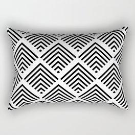 Black and White Art Deco Geometric Diamond Pattern Rectangular Pillow