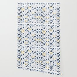Herringbone chevron pattern.Indigo faux gold acrylic canvas Wallpaper