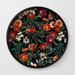 Marijuana and Floral Pattern Wall Clock