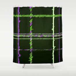 Hunter Green and Brilliant Purple Plaid Shower Curtain