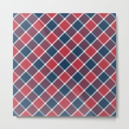 Nautical style check navy-red-purple Metal Print