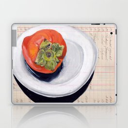 Persimmon on a Plate in Gouache Laptop & iPad Skin