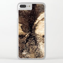Black and gold abstract ink Clear iPhone Case
